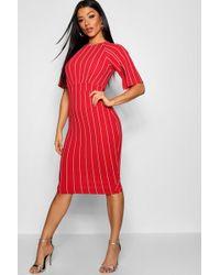 Boohoo - Stripe Split Sleeve Detail Wiggle Sleeve Midi Dress - Lyst