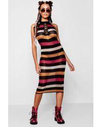 Boohoo - Megan Metallic Knitted Colour Block Midi Dress - Lyst