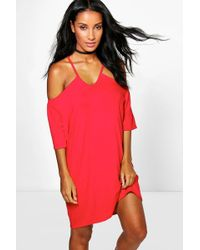 Boohoo - Samara Strappy Front Off Shoulder Swing Dress - Lyst