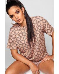Boohoo - Oversized Repeat Print T-shirt - Lyst