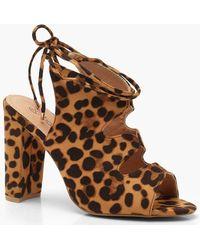 Boohoo - Wide Fit Leopard Cut Work Shoe Boots - Lyst