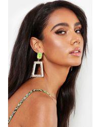 Boohoo - Green Stone Textured Statement Earrings - Lyst