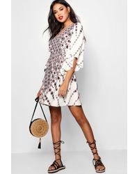Boohoo - Rach Kimono Sleeve Bohemian Wrap Skater Dress - Lyst