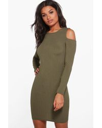 Boohoo | Ali Square Cold Shoulder Ribbed Bodycon Dress | Lyst