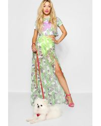 Boohoo - Paris Hilton Palm Print Mesh Maxi Skirt - Lyst