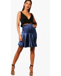 Boohoo - Sateen Woven Dip Front Mini Skirt - Lyst