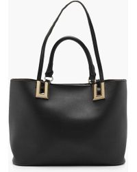 Boohoo - Metal Detail Double Handle Day Bag - Lyst