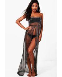 Boohoo - Mermaid Metallic Split Front Beach Maxi Dress - Lyst