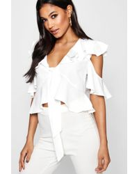 Boohoo - Tie Front Ruffle Woven Blouse - Lyst