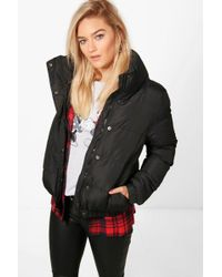 Boohoo - Bethany Crop Funnel Neck Padded Jacket - Lyst