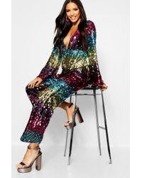 Boohoo - Rainbow Zig Zag Sequin Stripe Jumpsuit - Lyst
