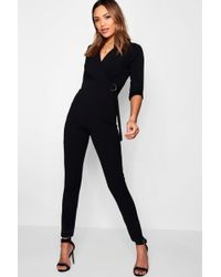 Boohoo | Ivy Wrap D-ring Jumpsuit | Lyst