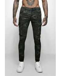 Boohoo - Skinny Fit Camo Biker Jeans With Cargo Pockets - Lyst