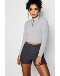Boohoo - O Ring Zip High Neck Top - Lyst