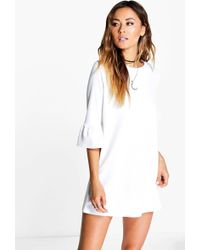 7ce44004a4 Lyst - Boohoo Petite 2 In 1 Corset Belt T-shirt Dress in White