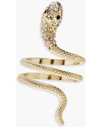 Boohoo - Plus Snake Diamante Ring - Lyst