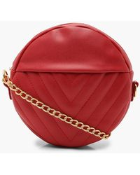 Boohoo - Chevron Quilted Structured Round Bag - Lyst