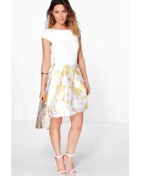 Boohoo | Boutique Dory Floral Sateen Dip Hem Skater Dress | Lyst