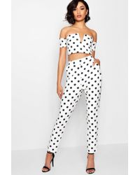 Boohoo - Spot V Bar Top And Trouser Co-ord - Lyst
