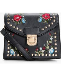 Boohoo | Lucy Embroidery & Stud Cross Body Bag | Lyst
