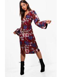 Boohoo - Kimono Floral Wrap Midi Dress - Lyst
