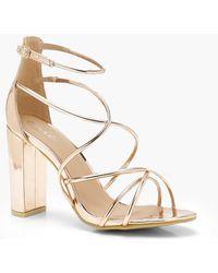 Boohoo - Strappy Block Heel Sandals - Lyst