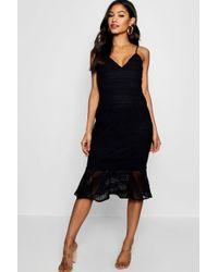 Boohoo - Lace Flared Hem Midi Dress - Lyst