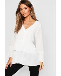 Boohoo - Pleated Button Smock Blouse - Lyst