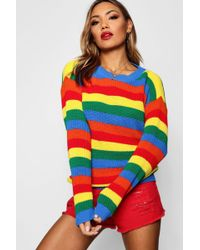 Boohoo - Rainbow Knitted Stripe Jumper - Lyst