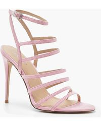 d9a99a0b1c0 Lyst - Boohoo Wrap Ankle Clear Strap Sandals in Green