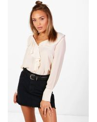 Boohoo - Woven Ruffle Front Blouse - Lyst