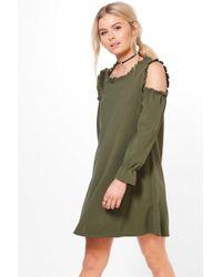 Boohoo | Liz Cold Shoulder Ruffle Sleeve Dress | Lyst