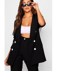 Boohoo - Bea Double Breasted Blazer With Contrast Button - Lyst