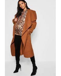 09a4454453625 Boohoo Maternity Mixed Faux Fur Coat in Natural - Lyst