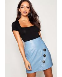 Boohoo - Mock Horn Button Diagonal Panel Pu Mini Skirt - Lyst