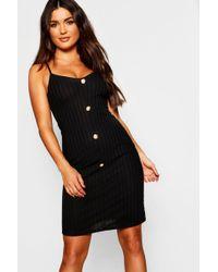1a52076468a9 Boohoo Oversized Rib Knit T-shirt Dress in Black - Lyst