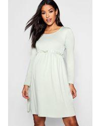 90678989eb1 Lyst - Boohoo Maternity Long Sleeve Smock Dress in Green