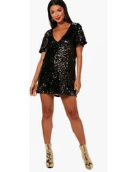 9a18e94a4a80 Boohoo Multi Coloured Sequin Bodycon Dress in Black - Lyst