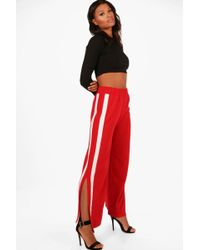 Boohoo   Camellia Contrast Panel Wide Leg Relaxed Trousers   Lyst