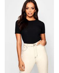 Boohoo - Round Neck Ribbed T-shirt - Lyst