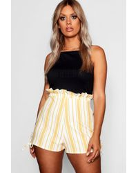 Boohoo - Plus Stripe Ruffle Waisted Tailored Shorts - Lyst