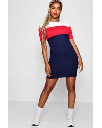 Boohoo - Sports Colour Block Bodycon Mini Dress - Lyst
