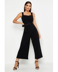 a2a093e5625 Boohoo - Pinafore Belted Buckle Culotte Jumpsuit - Lyst