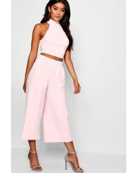 4d354beff60 Lyst - Boohoo Ava Rib Crop Top And Culotte Co-ord Set in Black