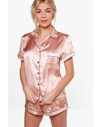 Boohoo - Satin Pj Short Set With Contrast Piping - Lyst