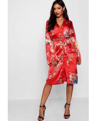 Boohoo - Oriental Flute Sleeve Wrap Dress - Lyst