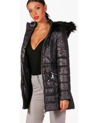 Boohoo - Tall Hailey Quilted Hooded Coat - Lyst