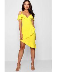 9d87403e212e Boohoo Double Ruffle Off The Shoulder Midi Dress in Yellow - Lyst