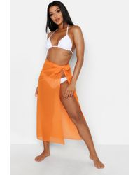 3415bccac4 Lyst - Boohoo Ruffle Tie Beach Sarong in White
