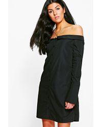 Boohoo - Sheila Off Shoulder Shirt Dress - Lyst